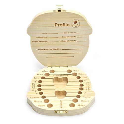 takestop Caja porta dientes de leche para bebé de madera personalizable con 22 compartimentos