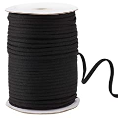 Size: Width:1/5 inch (4.5mm);Length:(145 yard)Wide .Black Elastic String Cord Bands for Sewing Craft DIY Mask PREMIUM MATERIAL: The sewing band is made of latex thread with polyester fibre, durable and soft, strong elasticity and resilience; and in t...