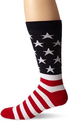K. Bell Men's Celebrating Americana Crew Socks-Made in USA, Red/White/Blue American Flag, Shoe Size: 6-12