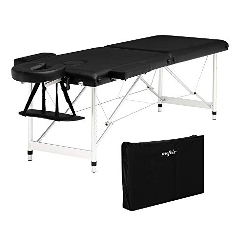 "Mefeir 73"" Massage Table w/Carrying Bag, 2-Fold Portable Folding Home Spa Salon Beauty Tattoo Bed w/Aluminum Legs, Armrest & Face Cradle, Height Adjustable, Black"