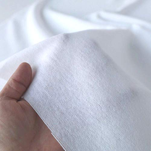 TOLKO 50cm Baumwollstoff Meterware | der Klassiker zum Nähen Dekorieren | Reine Oeko-Tex Baumwolle | weicher Baumwoll-Nesselstoff als Kleiderstoff Dekostoff Bezugsstoff (Weiß Molton)