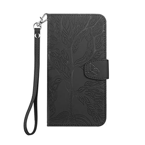 Annuo - Funda para Samsung Galaxy A81/Note 10 Lite, diseño de árbol con mariposa, magnético creativo, funda protectora con TPU a prueba de golpes, función atril, ranuras para tarjetas, color negro