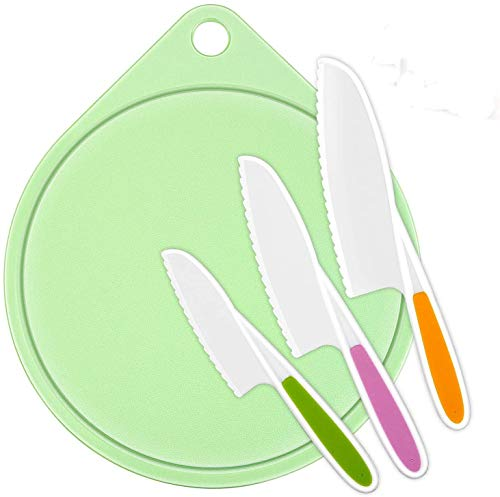 LEEFE kids Cooking Supplies Knife (3-Piece) and Cutting Board/Firm Grip, Safe Lettuce and Salad Knives, Real Kids Cooking Tool in 3 Sizes & Colors, Serrated Edges, BPA-Free (Green)