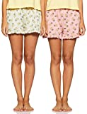 Amazon Brand - Eden & Ivy Women's Regular Cotton Lounge Shorts (Pack of 2) (SS19UTSBT01-GP-06_Pink & Grey_M)