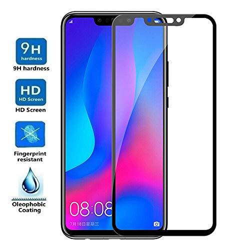 REY - Protector de Pantalla Curvo para Huawei P Smart Plus - Nova 3, Negro, Cristal Vidrio Templado Premium, 3D / 4D / 5D