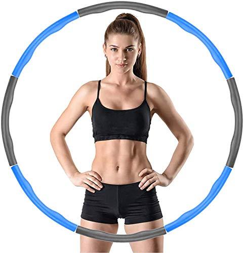 Fanxing Hula Hoop Reifen Erwachsene, 6-8 abnehmbare Abschnitte Erwachsene & Kinder Hula Hoop für Gewichtsverlust/Bauchformung/Zuhause/Büro - Fitness Hula Hoops, um in Form zu bleiben, 1,2 kg(Blau)