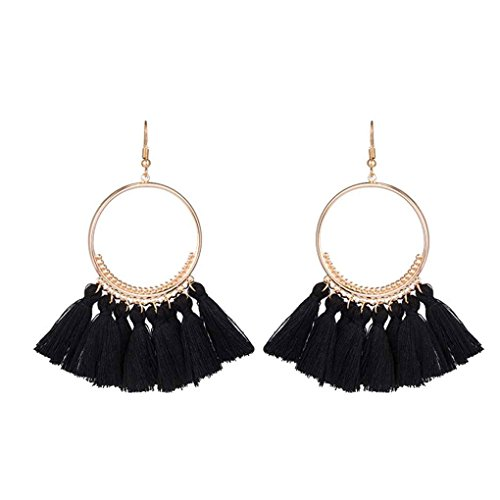 arichtop mujeres moda bohemio étnico con flecos borla pendientes Golden redondo círculo pendientes de gota colgante colgantes anillo Jewelr