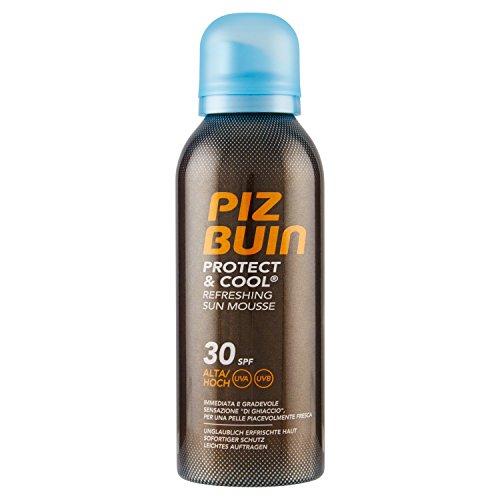 PIZ BUIN Protect & Cool Refreshing Sun Mousse LSF 30 – Erfrischender Sonnenschutz Schaum mit Kühleffekt – Nicht fettend und schnell einziehend – 150ml