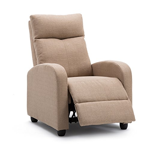 Recliner Chair Modern Soft Fabric Living Room Home Theater Single Chaise Couch Sofa Seat (Tan)