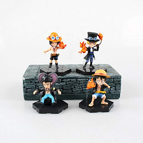 MNZBZ 4 unids/Set una Pieza Trafalgar Law Ace Luffy Sabo llaveros Figura de acción PVC colección Modelo Juguetes brinquedos