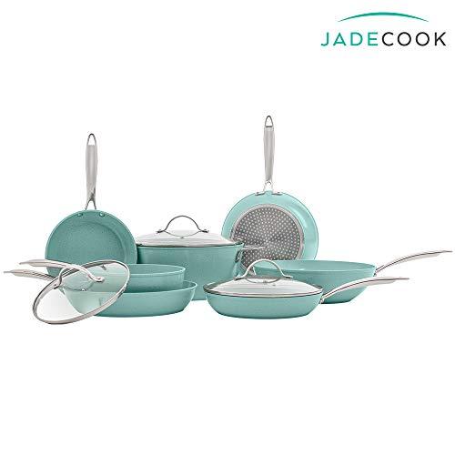 Set de sartenes y ollas de cocina 10 piezas JADE CHEF by Jade Cook. ANTIADHERENTE interior y exterior.