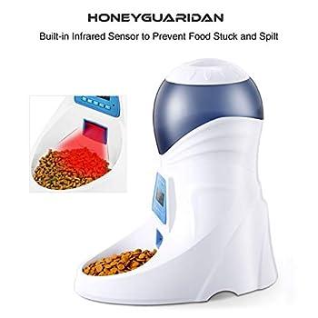 HoneyGuaridan A25 Distributeur Automatique de Nourriture pour Animaux de Compagnie avec Rappel Vocal et programmateur. 6 Repas pour Chien (Moyen, Petit) et Chats.