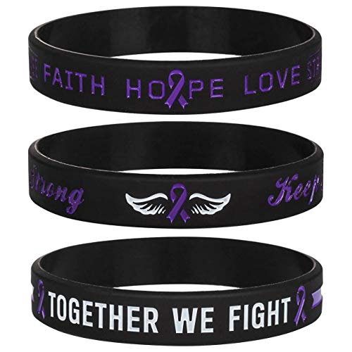 Sainstone Cancer & Cause Awareness Ribbon Bracelets with Saying, Mental Health Awareness Bracelets, Set of 3 Silicone Rubber Wristbands Gifts for Men Women, Patients Survivors (Pancreatic Purple)