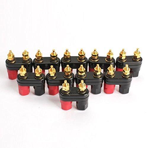 HIGHROCK 10pcs Terminal Binding Post Power Amplifier Dual Copper 2-Way Banana Plug Jack