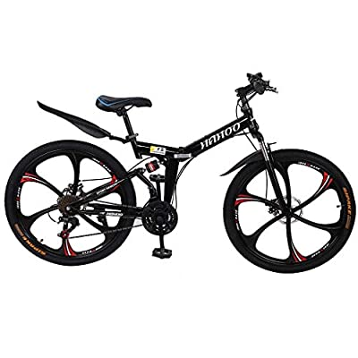 Mountain Bike for Adult Teens,26-Inch Wheels, Aluminum Frame,Full -Suspension,Dual Disc Brake,Aluminum Frame,21-Speed Folding Non-Slip MTB Bike for Men/Women (Black)