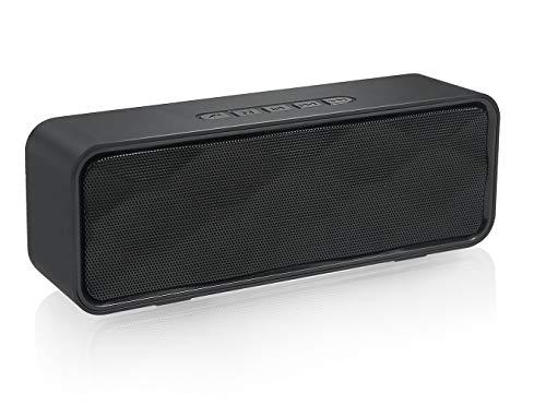 HUSAN Altavoz Bluetooth Inalámbrico con Ranura para Tarjeta AUX USB TF, Estéreo Portátil con Audio HD Radio FM, Bajos Mejorados, Controlador Doble, Llamada con Manos Libres (Negro)