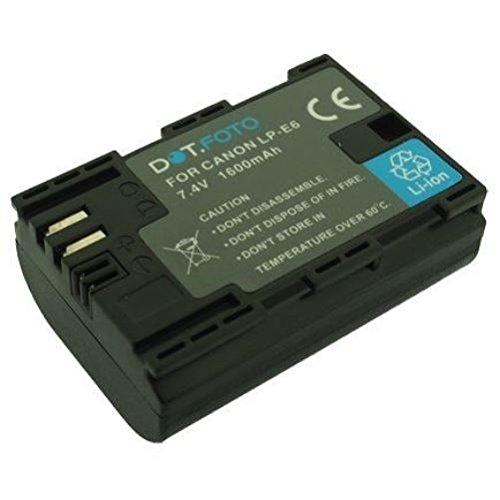 Canon LP-E6 PREMIUM Dot.Foto Batería de Reemplazo - 7.4V/1600mAh - Garantía de 2 años [Vea compatibilidad en la descripción]