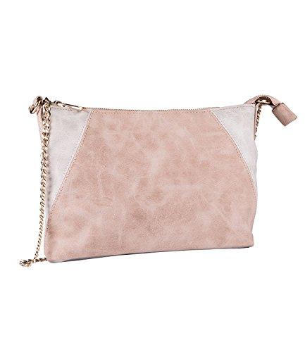 SIX Tasche, kleine Umhängetasche, Schultertasche, beige grau, mit langem Kettenriemen (726-172)