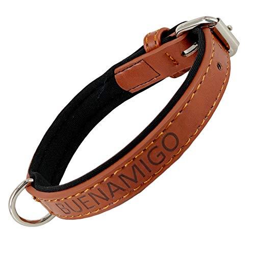 AVANZONA Halsband für Hunde - Halsband Classic aus Leder, verstellbar und weich gepolstert 3.0 * 48-58 cm (Hellbraun)