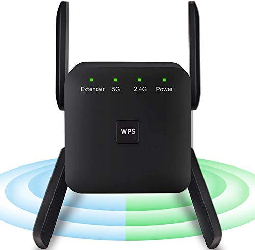 WiFi Repeater - 1200Mbps WiFi Range Extender Wireless Signal Repeater Booster, Dual Band 2.4G and 5G Expander, 4 Antennas 360° Full Coverage, Extend WiFi Signal to Smart Home Devices(AC1200 Black)
