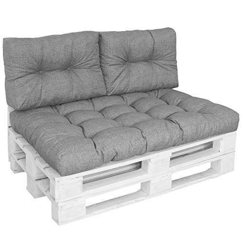 DILUMA   Set de 3 Piezas Gris   Asiento 120x80 cm + 2X Respaldos 60x40cm   Cojín Confort para sofás palés Repelente a Las Manchas
