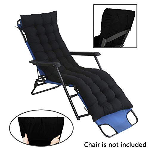 Garden Sun Lounger Coussin Patio Furniture Pads with Fixing Cover Thick Padded Recliner Relaxer Chair Seat Cover Cover for Travel Indoor Outdoor 170x48cm Grey