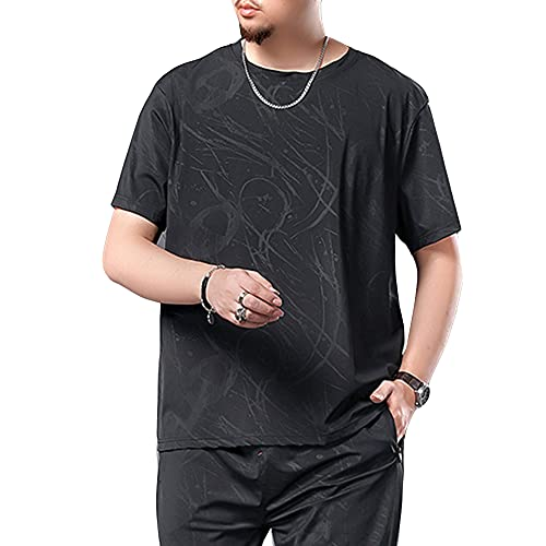 DAIHAN Hombres de talla grande Ligero Camiseta de Secado rápido con cuello en O/ Pantalones de Chándal de Ropa Deportiva de Cintura Elástica para Entrenamiento Gimnasio Fitness Jogger T-shirt 3XL