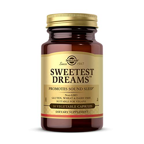 Solgar Sweetest Dreams, 30 Vegetable Capsules - Promotes Sound Sleep - Non-Habit Forming - Provides L-Theanine & Melatonin - Non-GMO, Vegan, Gluten Free, Dairy Free, Kosher - 30 Servings