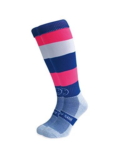 Wackysox Blackpool Rock Rugby Socks - Blue/Pink/White - size 7-11