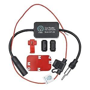 WEKON Amplificador de Señal de Radio de Coche, Amplificador Am/FM de Coche, Antena Amplificador Radio Am/FM/Dab Coche Vehículo Fortalecimiento de Señal de Radio Negro