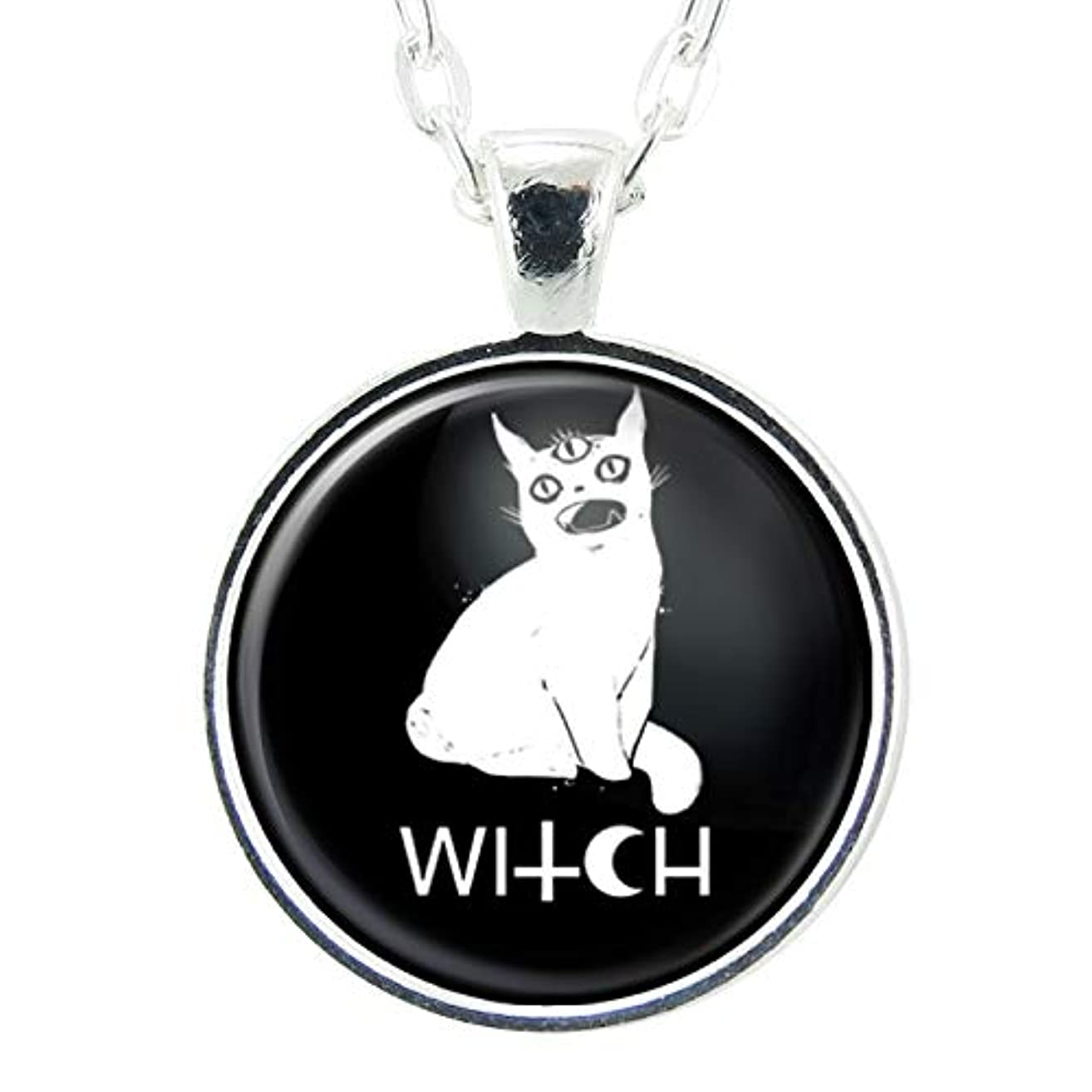 Black Cat Witch Handmade Art Pendant, Black Charm On Necklace Chain