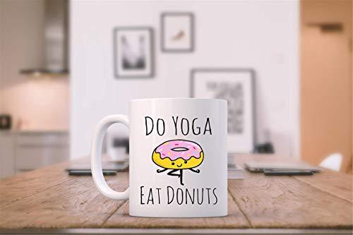 N\A Taza Divertida Yoga y donas Donut Haciendo Yoga Té Divertido Taza de café Taza para Amantes de la Yoga
