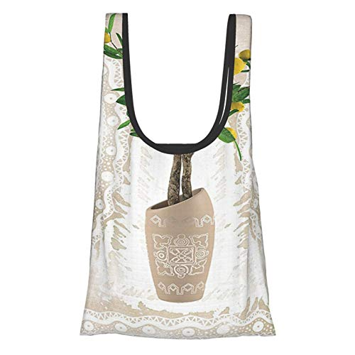 Floral Lemon Tree Traditional Tiles Paisley Vintage Style Floral Flowerpot Ceramic Vase Pattern Theme Home Decor Satin Fabric Beige Yellow Green Reusable Grocery Bags, Eco-Friendly Shopping Bag