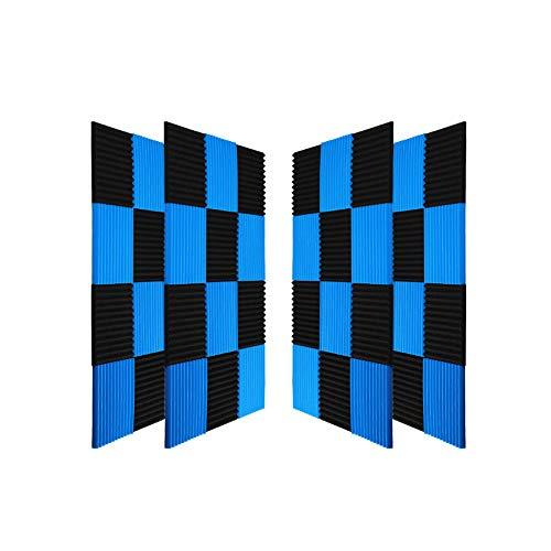 "50 Pack All -Black/Blue Acoustic Panels Studio Foam Wedges 1"" X 12"" X 12"" (50pack, Black&Blue)"