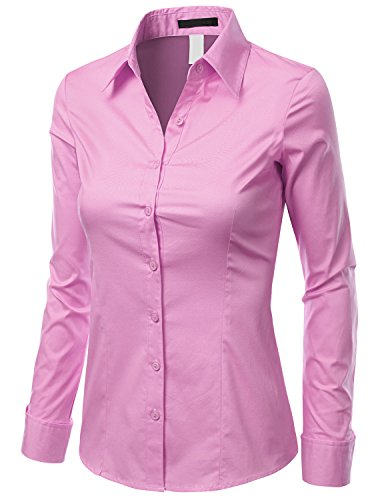 Doublju Slim Fit Cotton Blend Button Down Collared Shirt For Women With Plus Size PALEPINK 3X
