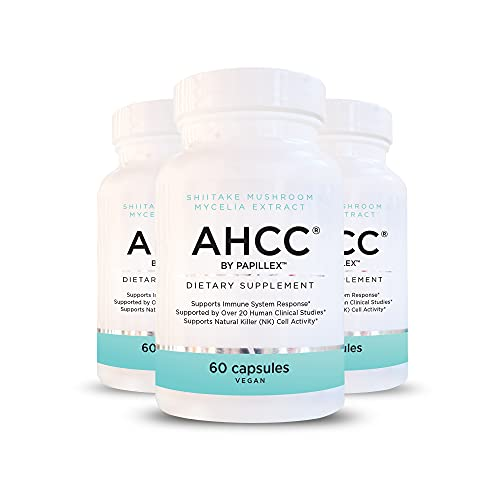 Papillex AHCC Supplement - Maximum Strength -Natural Immune Support Extract - Maintains Natural Killer Cell Activity -20+ Human Research Studies - 60 Veggie Capsules(3 Pack)