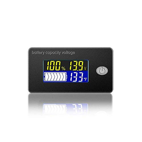 Battery Capacity Voltage Meter 0-179℉ Temperature Monitor 12V 24V 36V 48V Lead Acid Battery Lithium Battery Gauge Meter (48V)