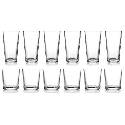 HE Classic Drinking Glasses Set, 12-Count Classic Glassware, Includes 6 Cooler Glasses(17oz) 6 DOF...