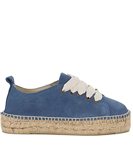 Manebí Espadrilles Sneaker Hamptons In Suéde Blau Und Jute