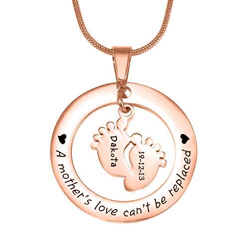 Panicy Joyas para el día de la Madre: Plata esterlina, Oro Rosa, Grabado Personalizado en los pies de un bebé Colgante con Cualquier Nombre y Palabra. Collar Personalizado.