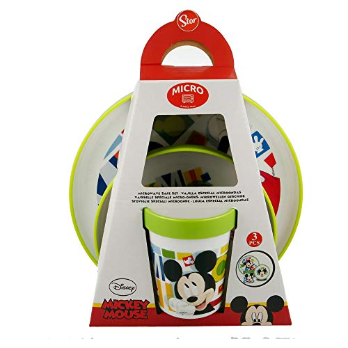 SET PREMIUM BICOLOR 3 PCS (PLATO, CUENCO y VASO 260 ML) MICKEY MOUSE - DISNEY - WATERCOLORS
