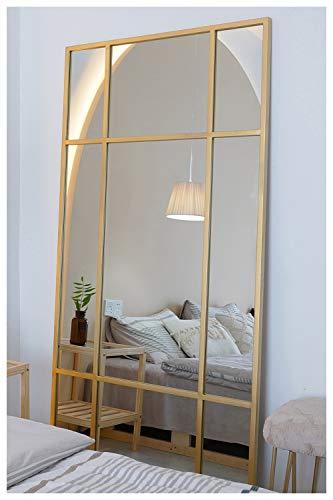 Standspiegel Ganzkörperspiegel, Gold, aus Metall – Rechteckiger Ankleidespiegel | [H 160* B 60* T 3cm] | Designed in Dänemark | Garderobenspiegel groß, lang, stehend | vertikal/horizontal