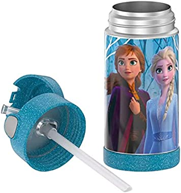 Thermos FUNtainer 12-Ounce Frozen 2 Water Bottle with Straw (Blue Glitter)