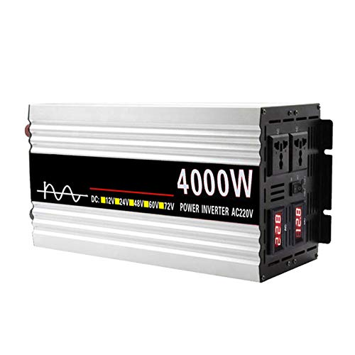 FDQNDXF Inversor de Energía de Onda Sinusoidal Pura 4000W / 5000W DC 12V / 24V a AC 110V / 220V Convertidor Inversor Solar con 2 Salidas de CA, para Viajes/Barcos/Autocaravanas