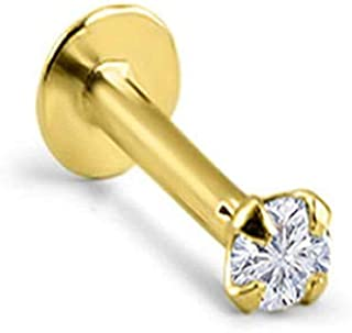 14k Solid Yellow Gold Threadless Push Pin Nose Ring Stud 1.5mm, 2mm, 2.5mm or 3mm Clear CZ 18G