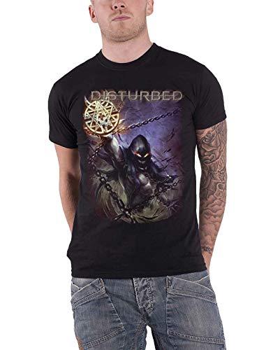 NR Verstoorde T Shirt Vortex kleuren Band Logo Mens Zwart