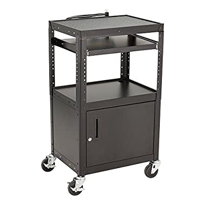 """Norwood Commercial Furniture NOR-GNO11-SO Adjustable Metal AV Cart with Locking Cabinet and Electric Power, Black, 26-42"""" Height, 24"""" Wide, 18"""" Length"""