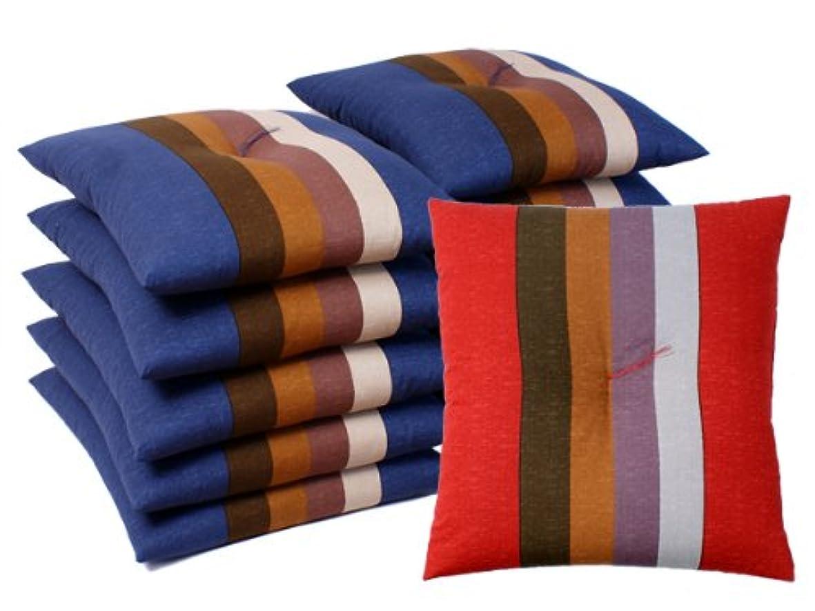 レビューレース階層国産 銘仙判座布団 縞柄 10枚セット ブルー系 「中わた たっぷり1kg」