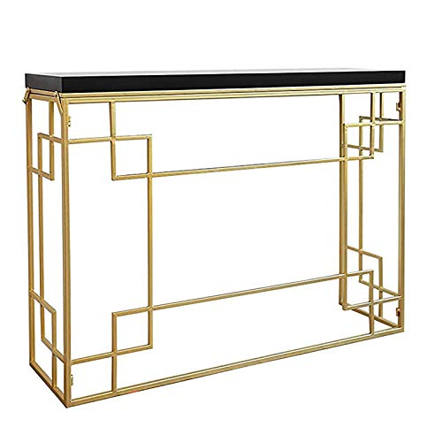 RTDotey Home Table Hotel Ingoing Console Table, Metal Marble Coffee Table Restaurant Restaurant Living Room Console Tables for Hallway,Gold