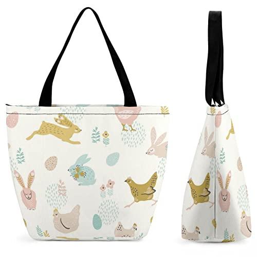 Longfind Tasche Damen Osterhasen Und Hühnchen Groß Tasche Für Uni Arbeit Mädchen Schule